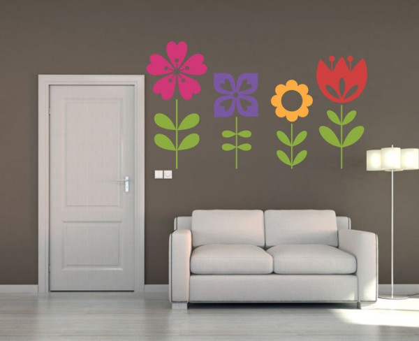 Wandsticker 4er Blumen Set