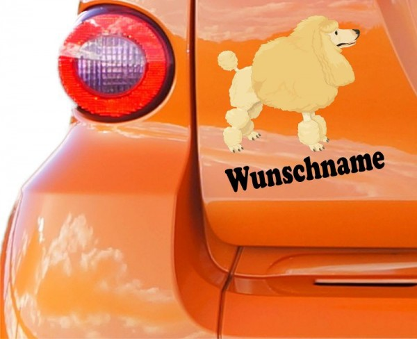 Pudel Hund mit Wunschname